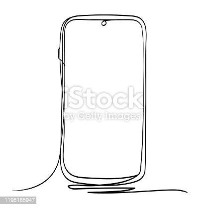 Holding Mobile Phone Line Art Vector Illustration. Isolated on White Background