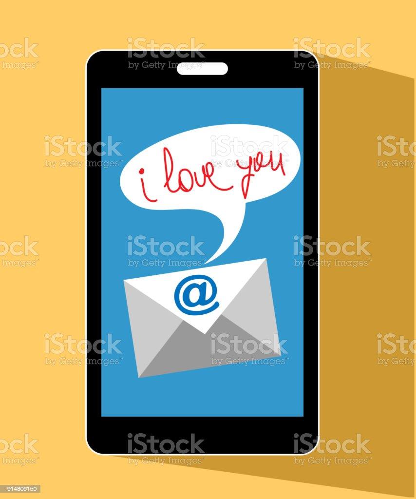 携帯電話の愛メール i love youのベクターアート素材や画像を多数ご