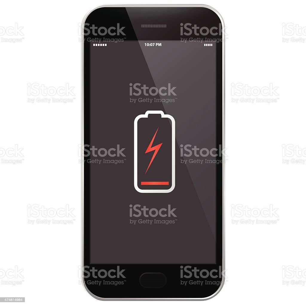 Mobile Phone - Low Battery vector art illustration