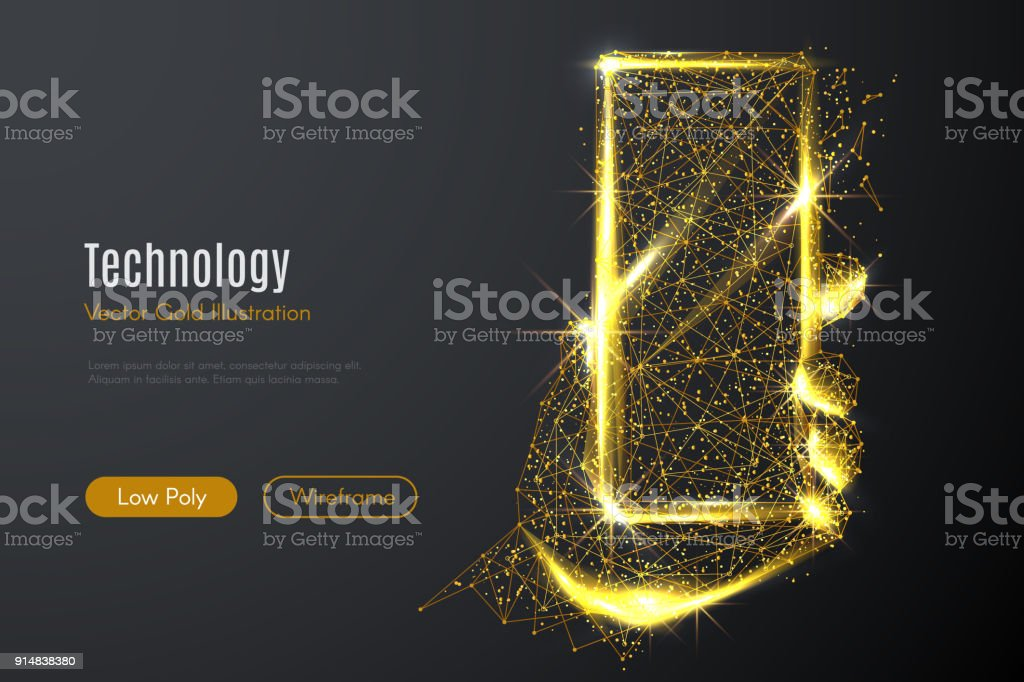 mobile phone LOW POLY gold