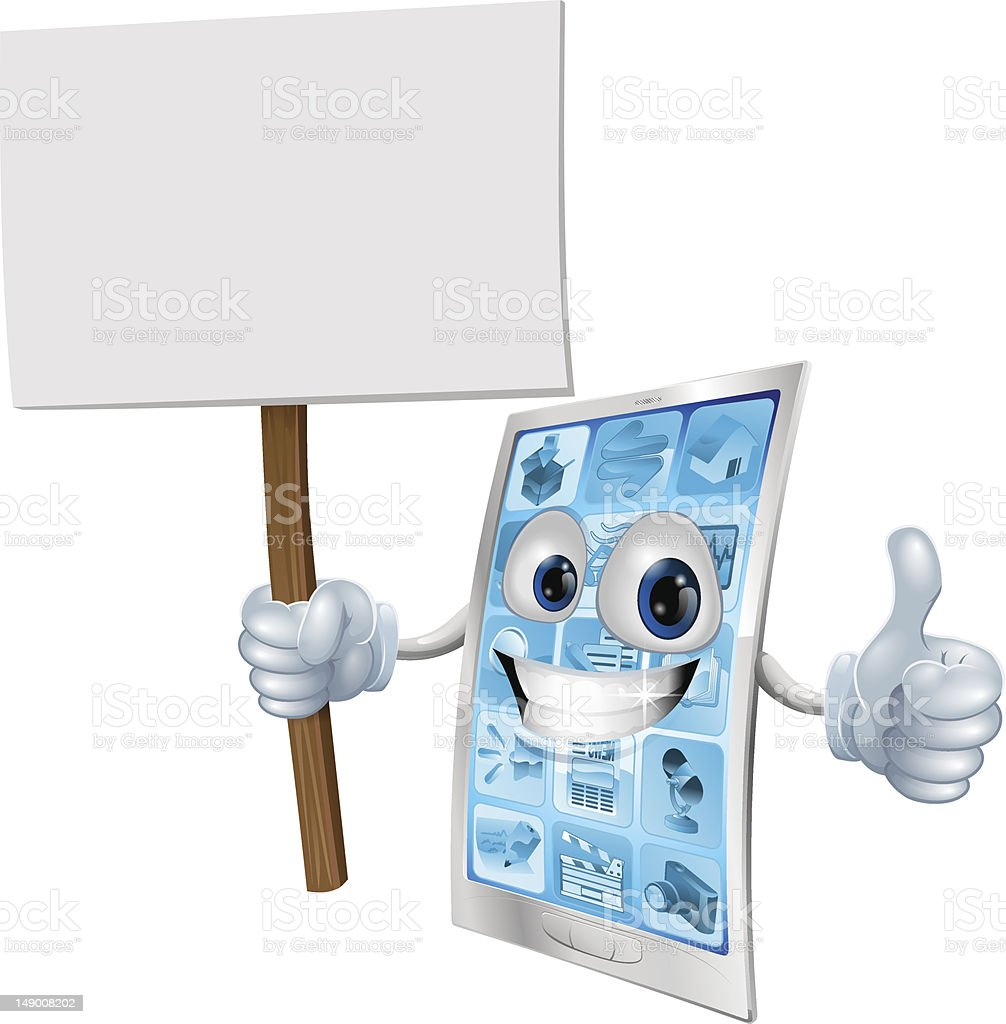 Mobile phone mascot holding sign royalty-free mobile phone mascot holding sign stock vector art & more images of adult