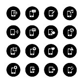 An illustration of mobile phone media circle icons set for your web page, presentation, apps & design products. Black & white design and has a metal frame that makes it look dazzling. Vector format can be fully scalable & editable.