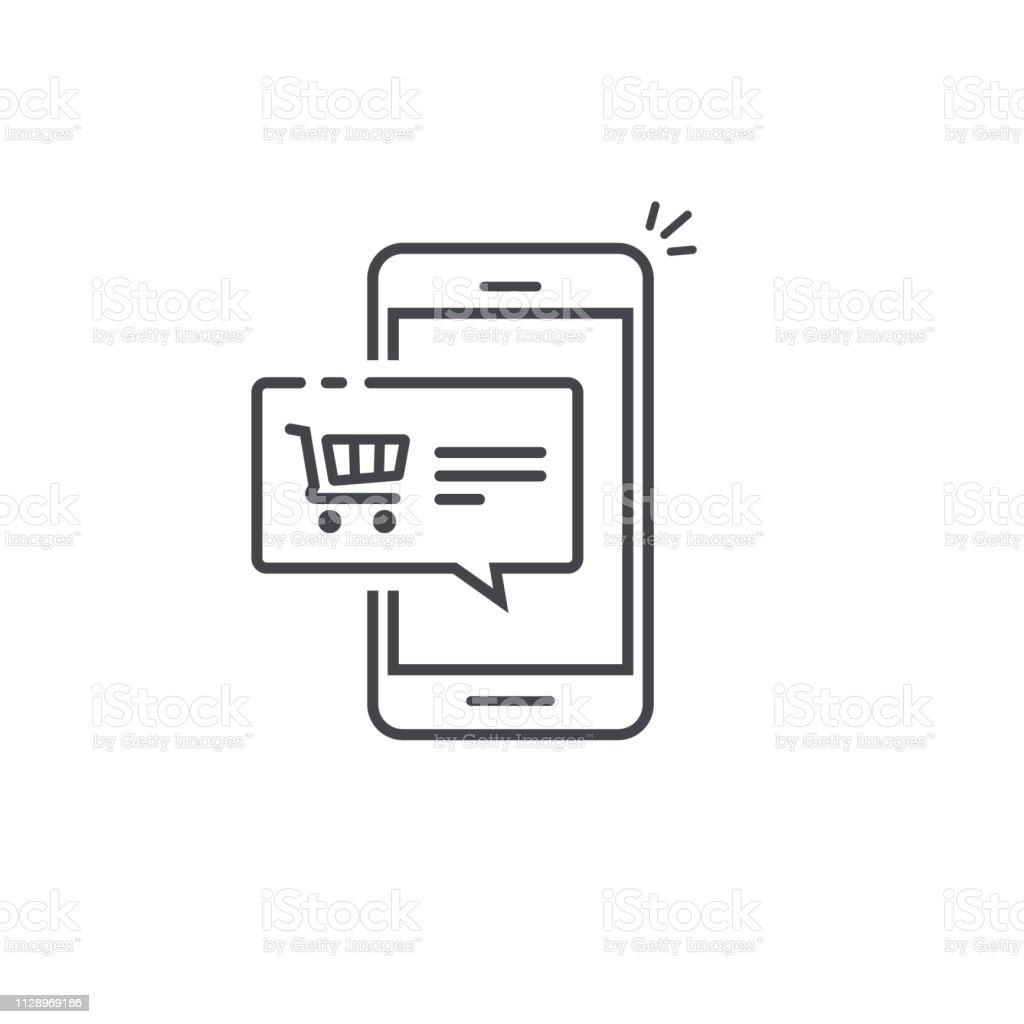 Mobiele telefoonpictogram voor faxmeldingen vector, cellphone push bericht symbool, smartphone ecommece bubble toespraak lijn overzicht kunst geïsoleerd pictogram clipart - Royalty-free Advies vectorkunst