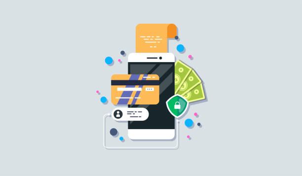 stockillustraties, clipart, cartoons en iconen met betaal pictogram voor mobiele telefoon in platte stijl. de internet winkel, online shop, web kopen en betalen. smartphone valuta ontwerpelementen. - mobiele betaling