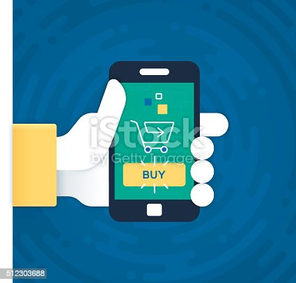 Hand holding mobile phone for buying or shopping design concept. EPS 10 file. Transparency effects used on highlight elements.