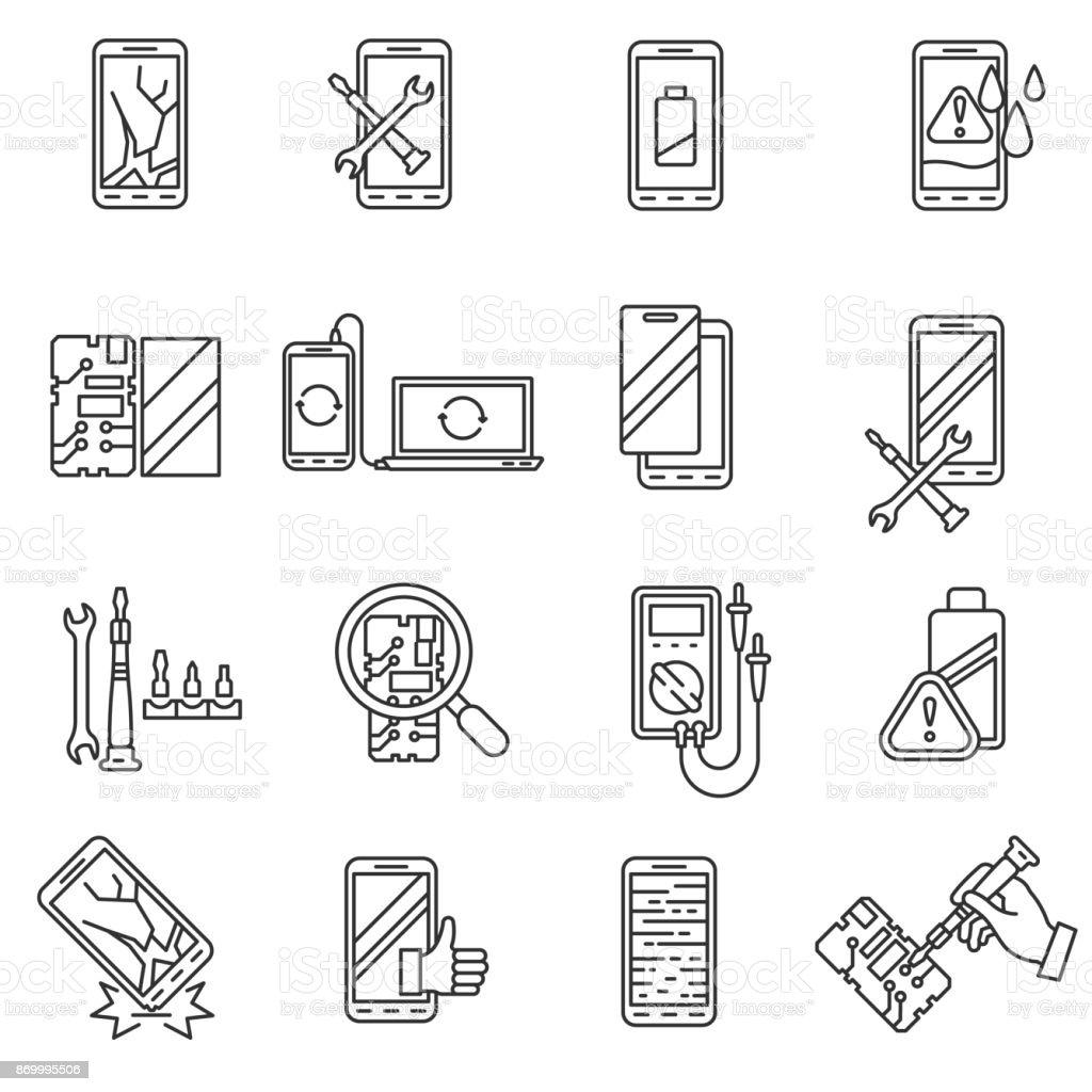 Mobile Phone repair, icons set. Editable stroke vector art illustration