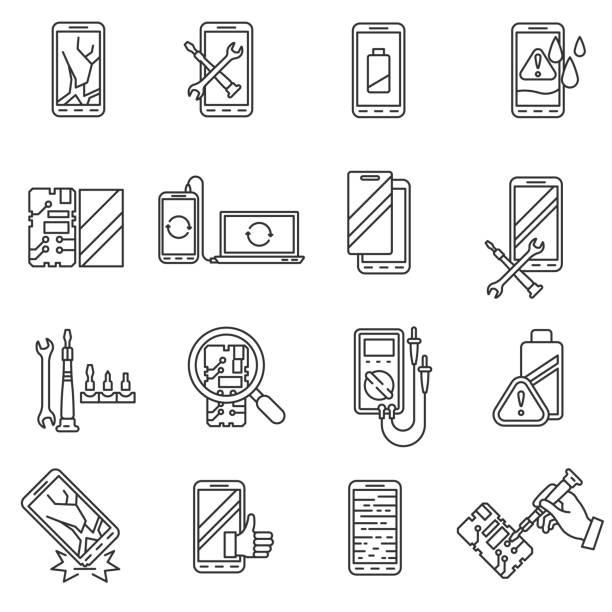 Best Broken Phone Illustrations, Royalty-Free Vector