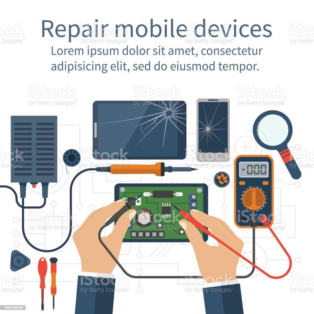 Mobile phone repair vector art illustration