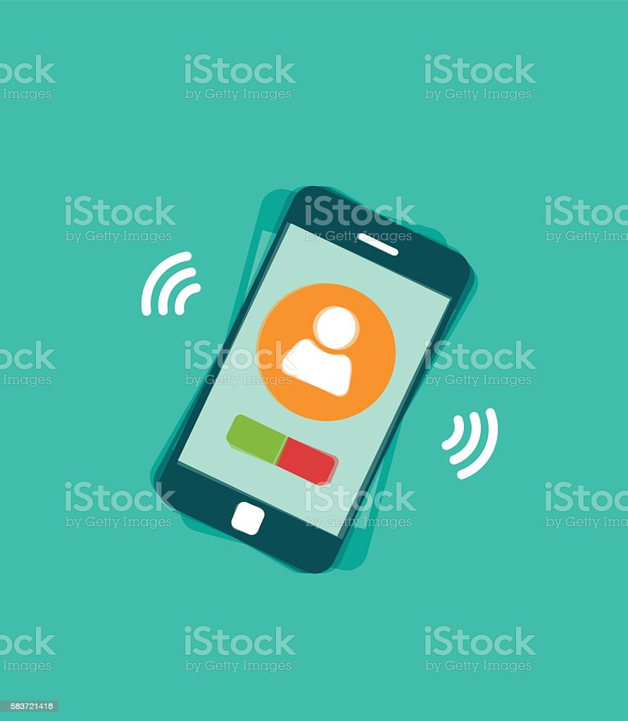 Mobile phone ringing vector illustration with signal waves and vibration, vector art illustration