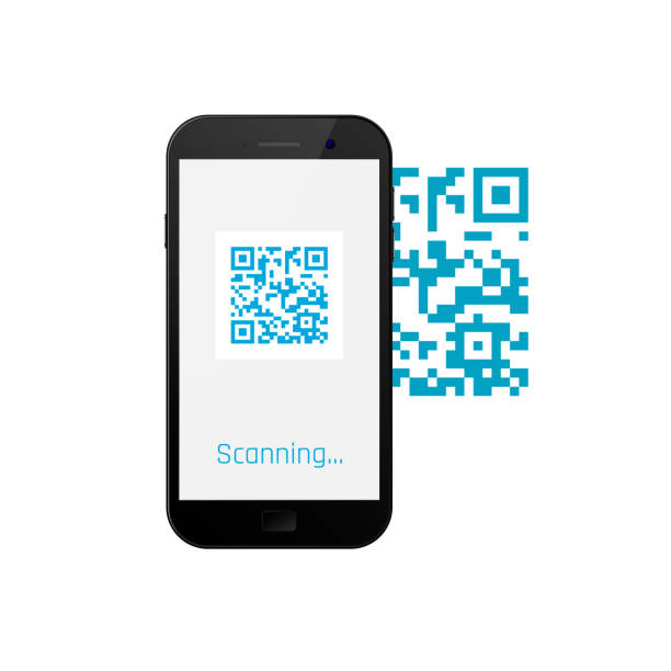 mobile phone scanning qr code. vector illustration - hand holding phone stock illustrations