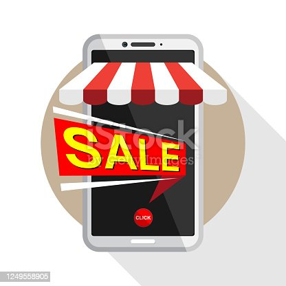 Mobile phone shop announces discounted price, Vector illustration in flat style