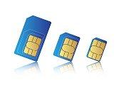 Mobile phone sim card set, standard, micro and nano sim card, vector illustration