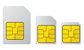 Mobile phone sim card, standard, micro and nano sim card – stock vector