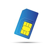 Mobile phone sim card, standard, micro and nano sim card, vector illustration