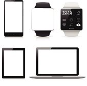 Mobile phone, Smart watch, Tablet and Laptop with blank screen isolated on white background.