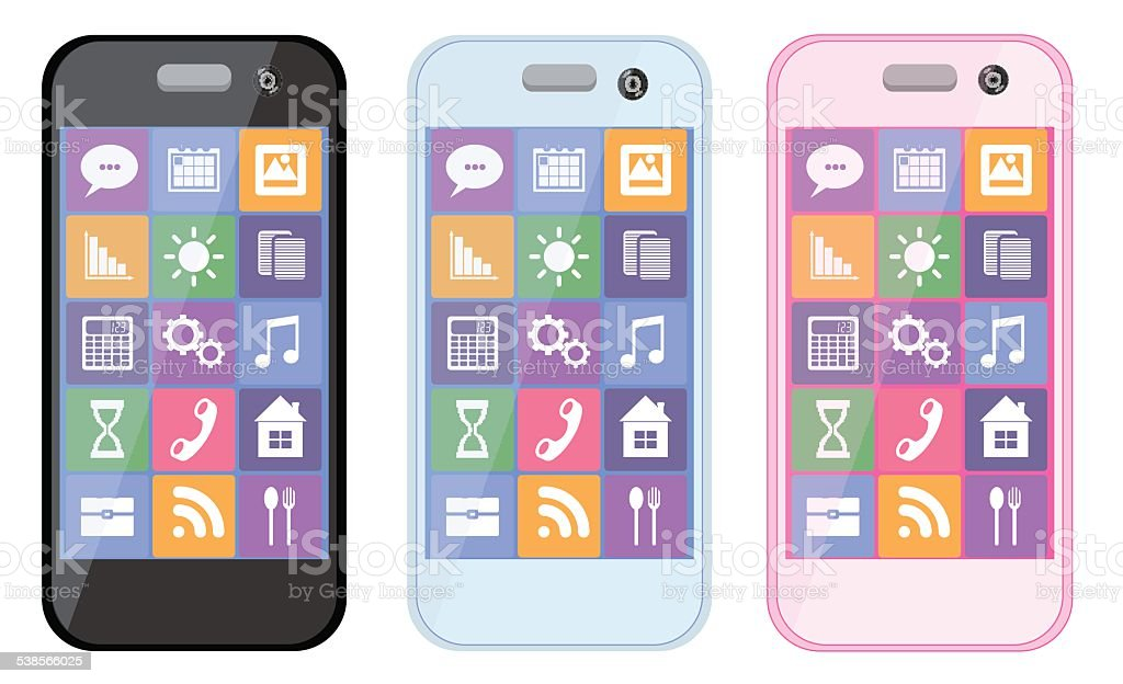 Cellulare E Smartphone Su Sfondo Bianco Collezione Immagini