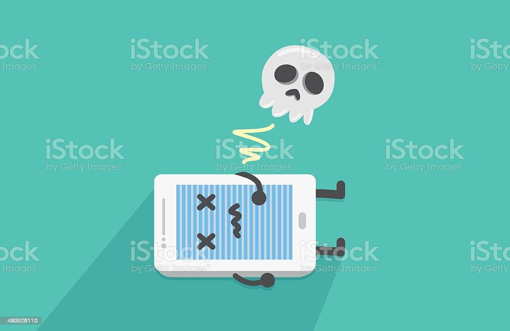 Mobile phone stop working vector art illustration