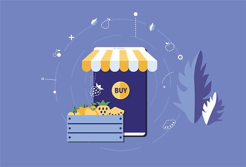 Mobile phone store and fruit, fruit merchants place orders online, e-commerce sales