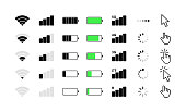 Mobile phone system icons. Wifi signal strength, battery charge level, loading, download, cursor. Vector illustration.