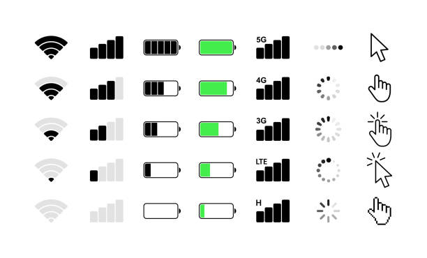 Mobile phone system icons. Wifi signal strength, battery charge level, loading, download, cursor. Vector illustration. Mobile phone system icons. Wifi signal strength, battery charge level, loading, download, cursor. Vector illustration rechargeable battery stock illustrations