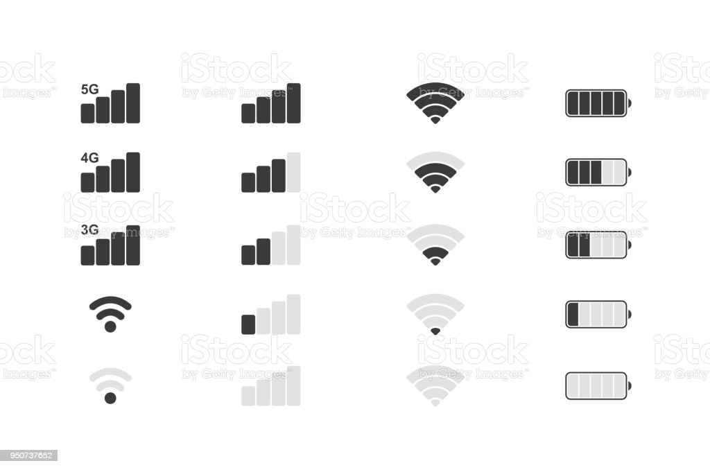 Mobile phone system icons. Wifi signal strength, battery charge level. Vector illustration.