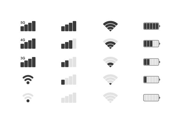 Mobile phone system icons. Wifi signal strength, battery charge level. Vector illustration. Mobile phone system icons. Wifi signal strength, battery charge level. Vector illustration battery stock illustrations