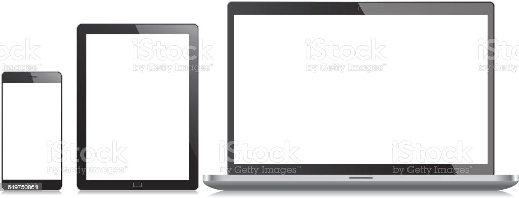 Mobile phone, tablet and laptop vector art illustration