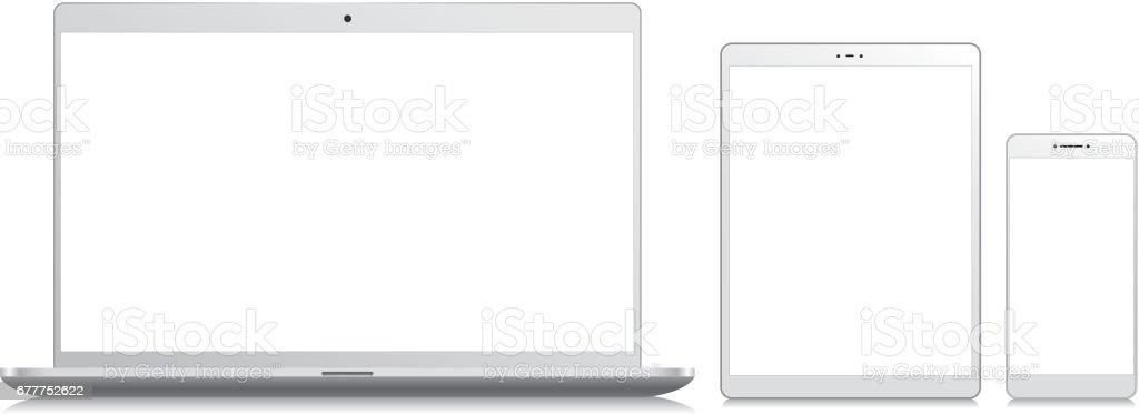 Teléfono móvil, Tablet y portátil - ilustración de arte vectorial