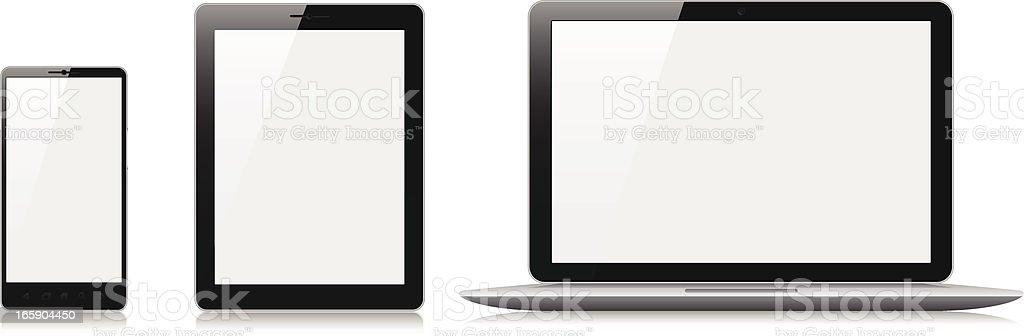 Téléphone Mobile, tablette et ordinateur portable avec écran blanc - Illustration vectorielle