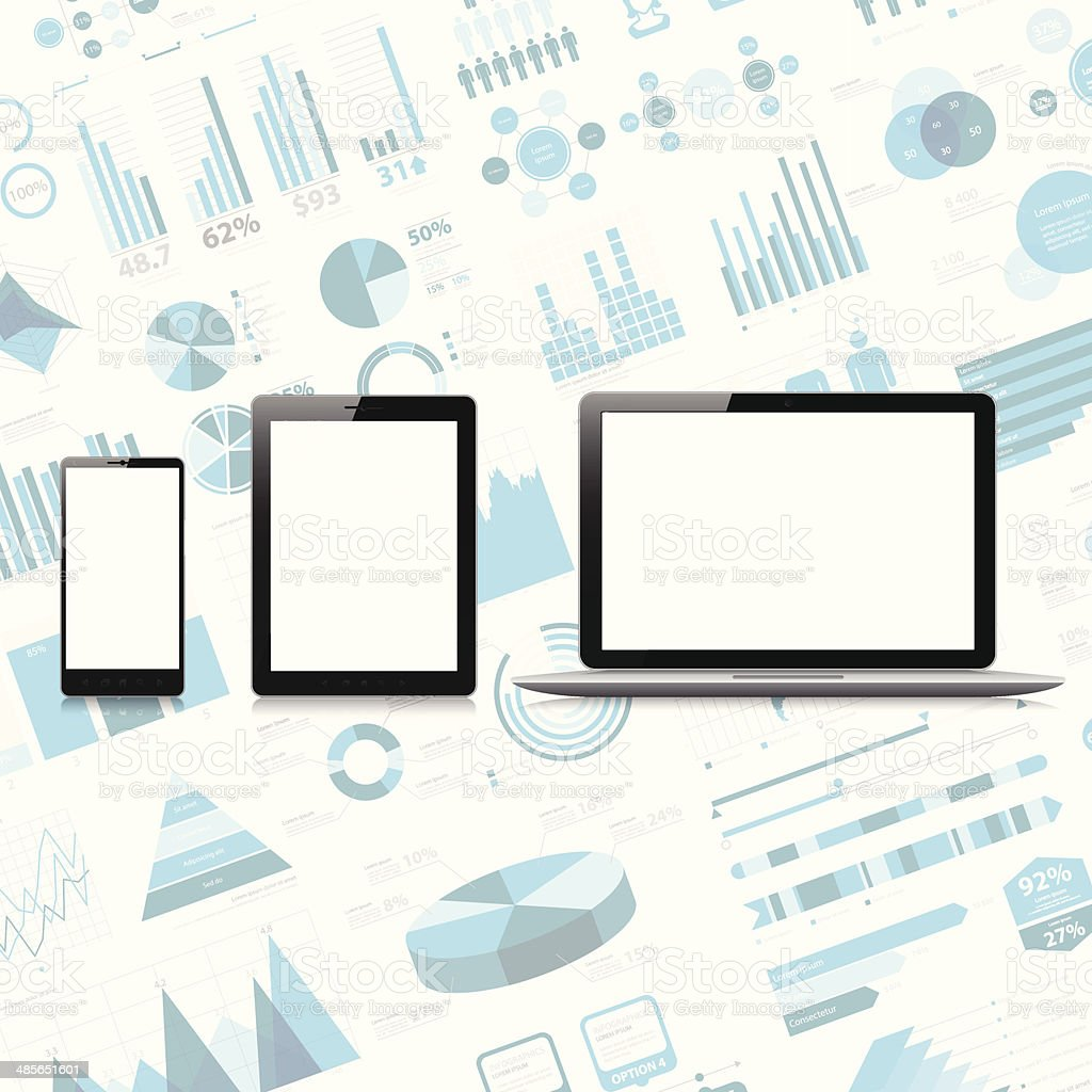 Téléphone Mobile, tablette pc, ordinateur portable sur l'infographie-plan. - Illustration vectorielle