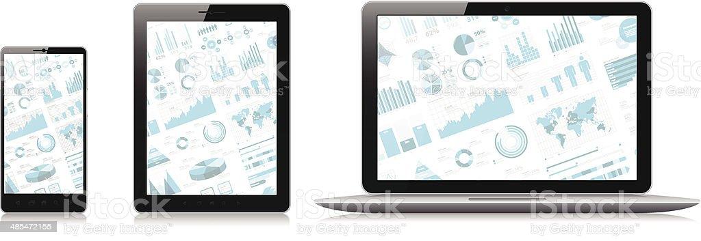 Téléphone Mobile, tablette pc, ordinateur portable avec écran l'infographie - Illustration vectorielle