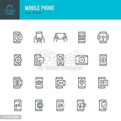 Mobile Phone - thin line vector icon set. 20 linear icon. Pixel perfect. Editable outline stroke. The set contains icons: Smart Phone, Contactless Payment, Mobile Payments, Online Shopping, E-Mail, QR Scanning, Modem, Augmented Reality.