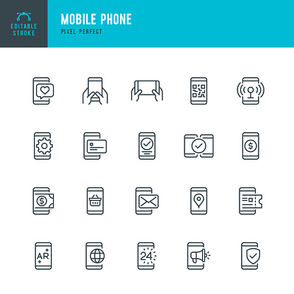 Mobile Phone - thin line vector icon set. Pixel perfect. Editable stroke. The set contains icons: Smart Phone, Contactless Payment, Mobile Payments, Augmented Reality, Online Shopping, E-Mail, QR Scaning.