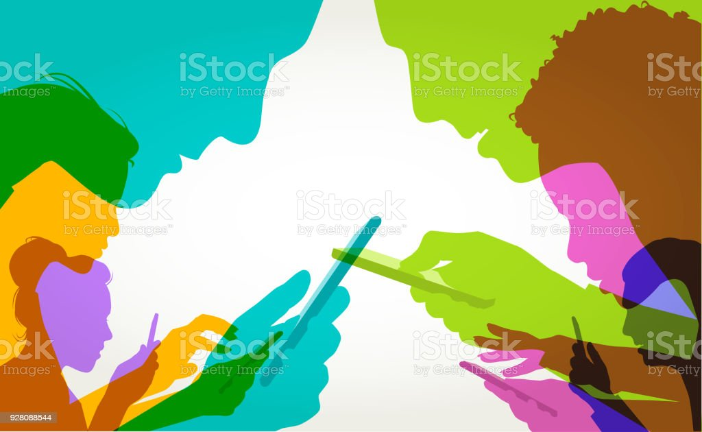 Mobile phone users vector art illustration