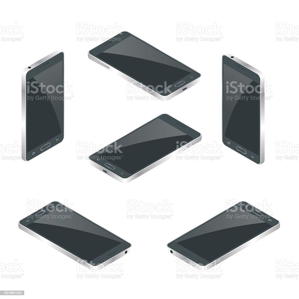 Mobile phone vector isometric