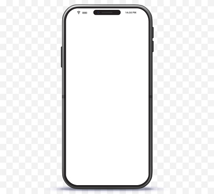 Mobile Phone Vector Mockup With White Screen and Transparent Background