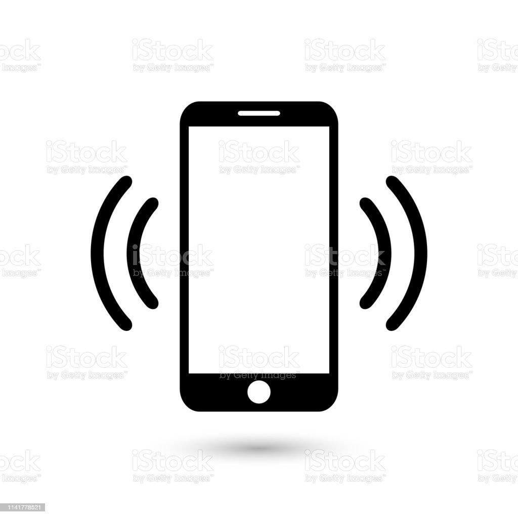 앱 및 웹 사이트에 대 한 휴대 전화 진동 또는 플랫 벡터 아이콘을 울리는 - 로열티 프리 디자인 벡터 아트