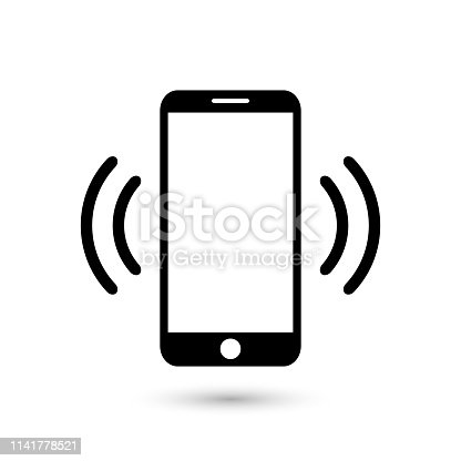 istock Mobile phone vibrating or ringing flat vector icon for apps and websites 1141778521