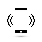 Mobile phone vibrating or ringing flat vector icon for apps and websites