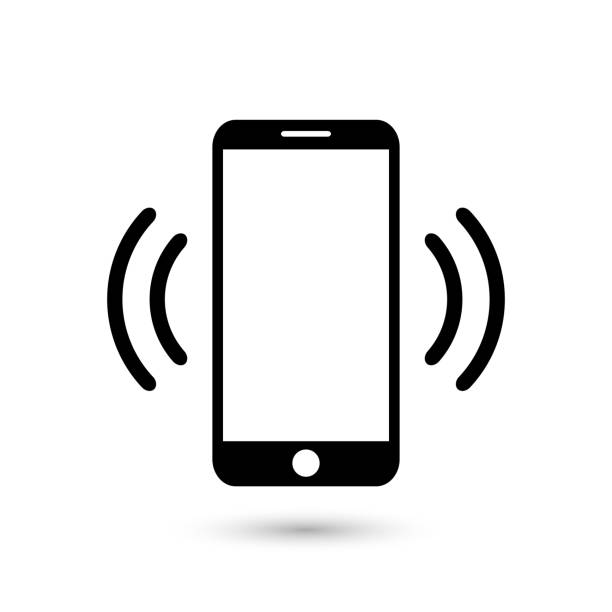 Mobile phone vibrating or ringing flat vector icon for apps and websites Mobile phone vibrating or ringing flat vector icon for apps and websites iphone stock illustrations