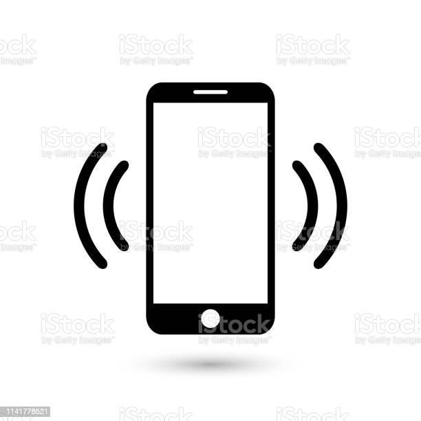 앱 및 웹 사이트에 대 한 휴대 전화 진동 또는 플랫 벡터 아이콘을 울리는 디자인에 대한 스톡 벡터 아트 및 기타 이미지