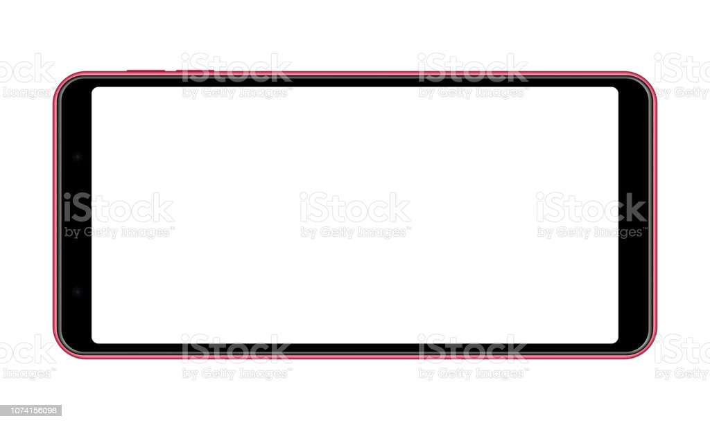 Mobile phone with blank screen - horizontal front view vector art illustration
