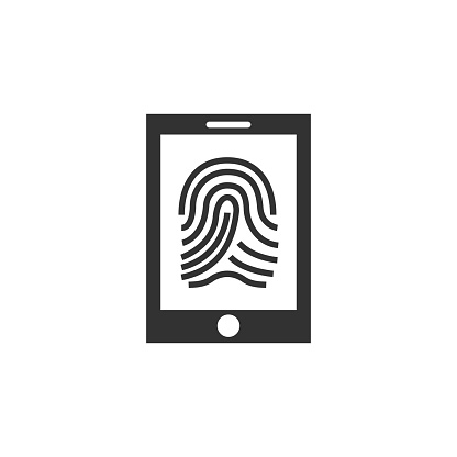 Mobile phone with fingerprint icon