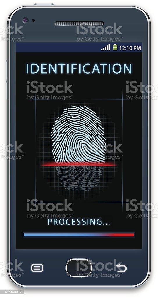 Mobile phone with fingerprint scanner vector art illustration