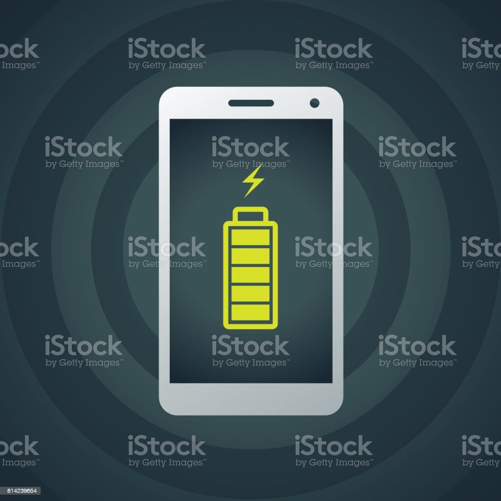 Mobile phone with full charge battery vector art illustration