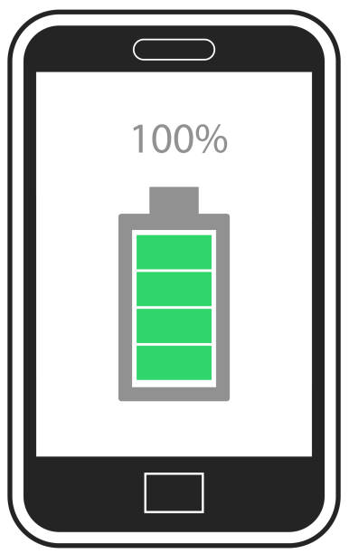 Mobile phone with full charge icon on screen vector vector art illustration