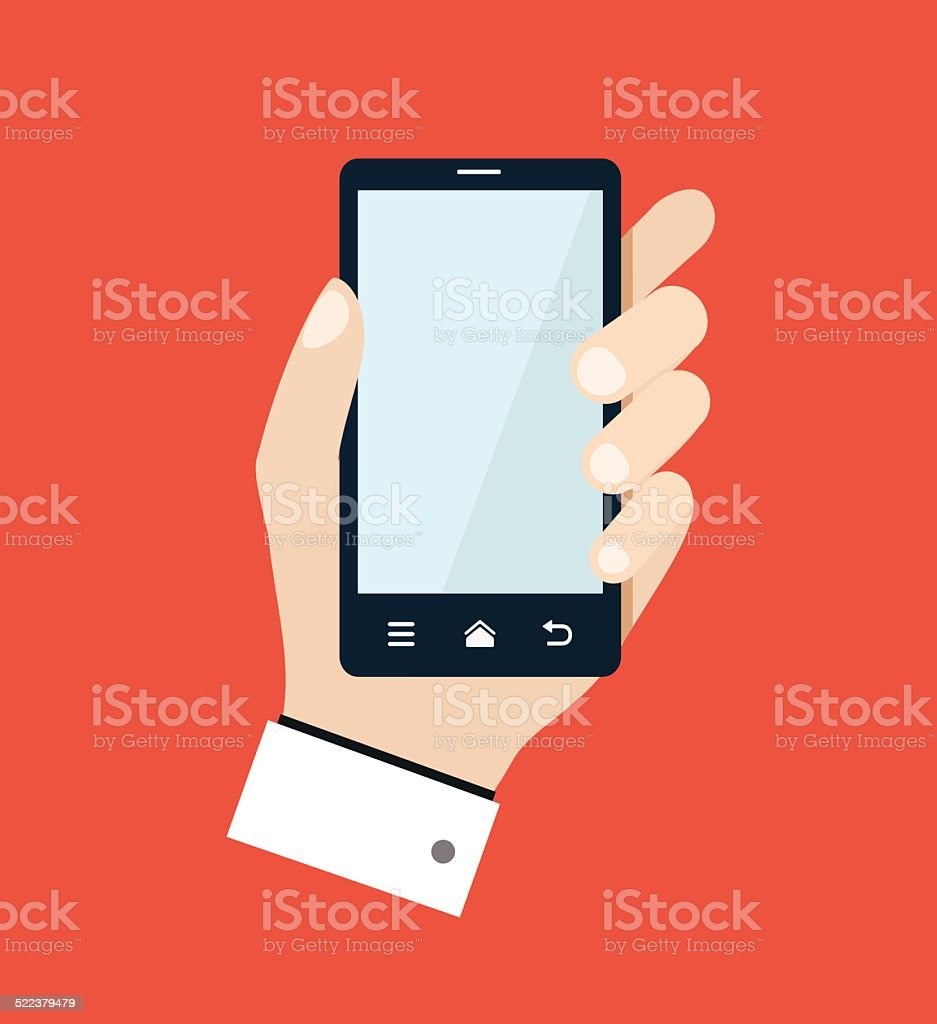 Mobile phone with hand flat illustration vector art illustration
