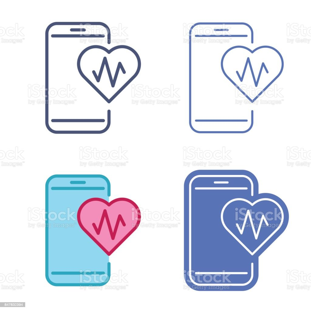 Mobile Phone With Heart Symbol Telemedicine Vector Outline Icon Set