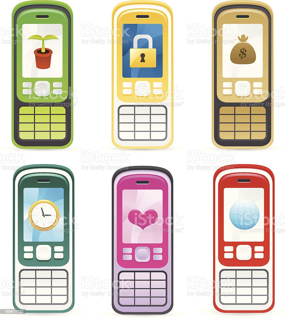 Mobile phone with icon backgrounds royalty-free stock vector art