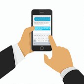 Hand holding phone with keyboard. Phone message template. Messaging service. Modern smartphone, finger touch screen. Concept for web banners, web sites or infographics.